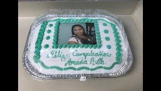 Como saco el color verde acqua, decorando pastel de media plancha en bandeja.