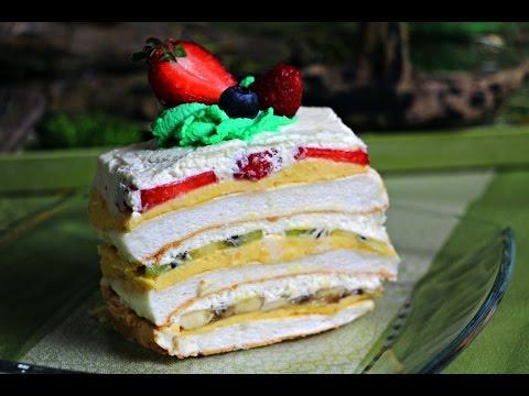 """""""Ledeni vjetar"""" - Beze šnite ili torta sa kremom od vanilije, šlagom i voćem"""