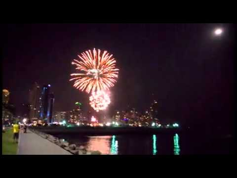 Typical weekend night fireworks display in Panama City