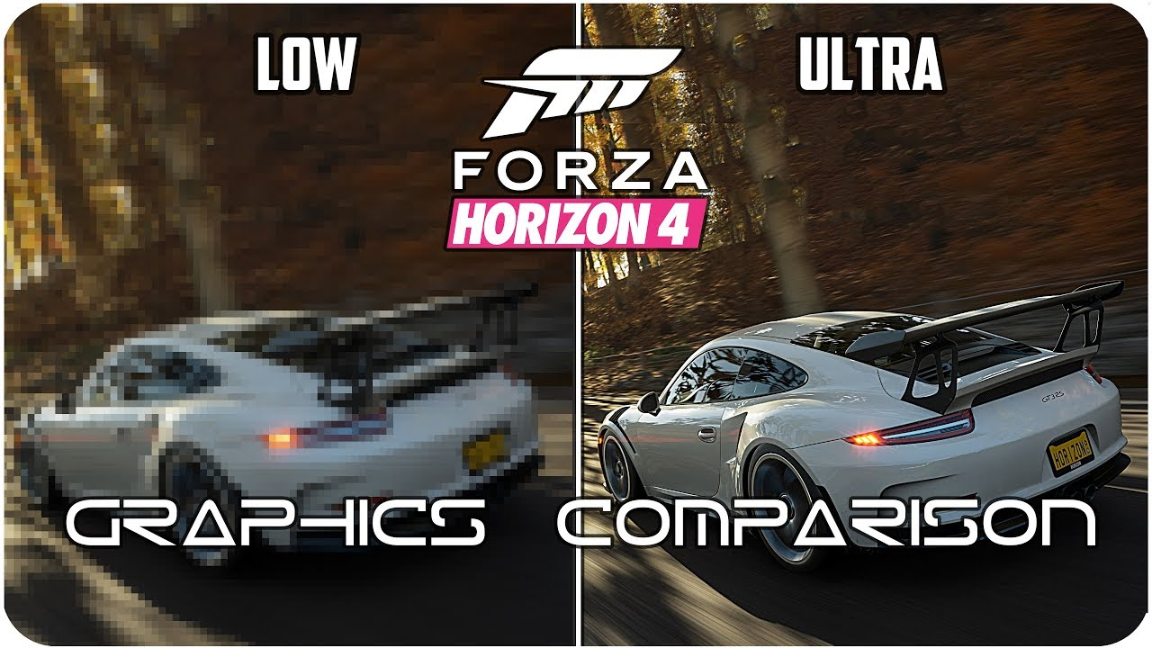 Forza Horizon 4 - PC - Low vs  Ultra detailed Graphics Comparison 4K