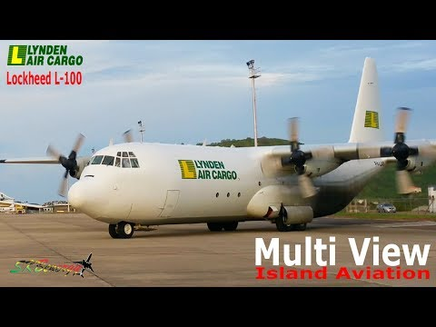 Lynden Air Cargo Lockheed L-100 arrival and taxi to parking @ St. Kitts Airport (Multi View)