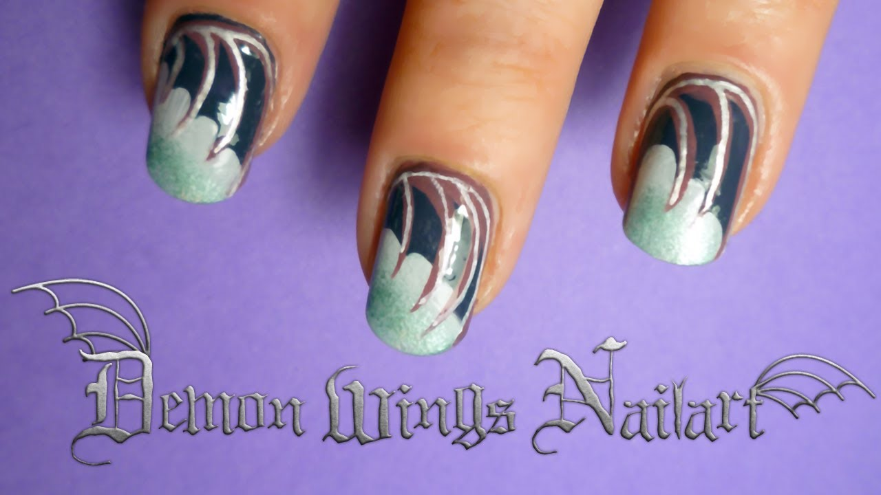 tutorial how to do gothic demon wing nail art for ...