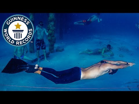 Thumbnail: Longest distance swam underwater holding breath - Guinness World Records