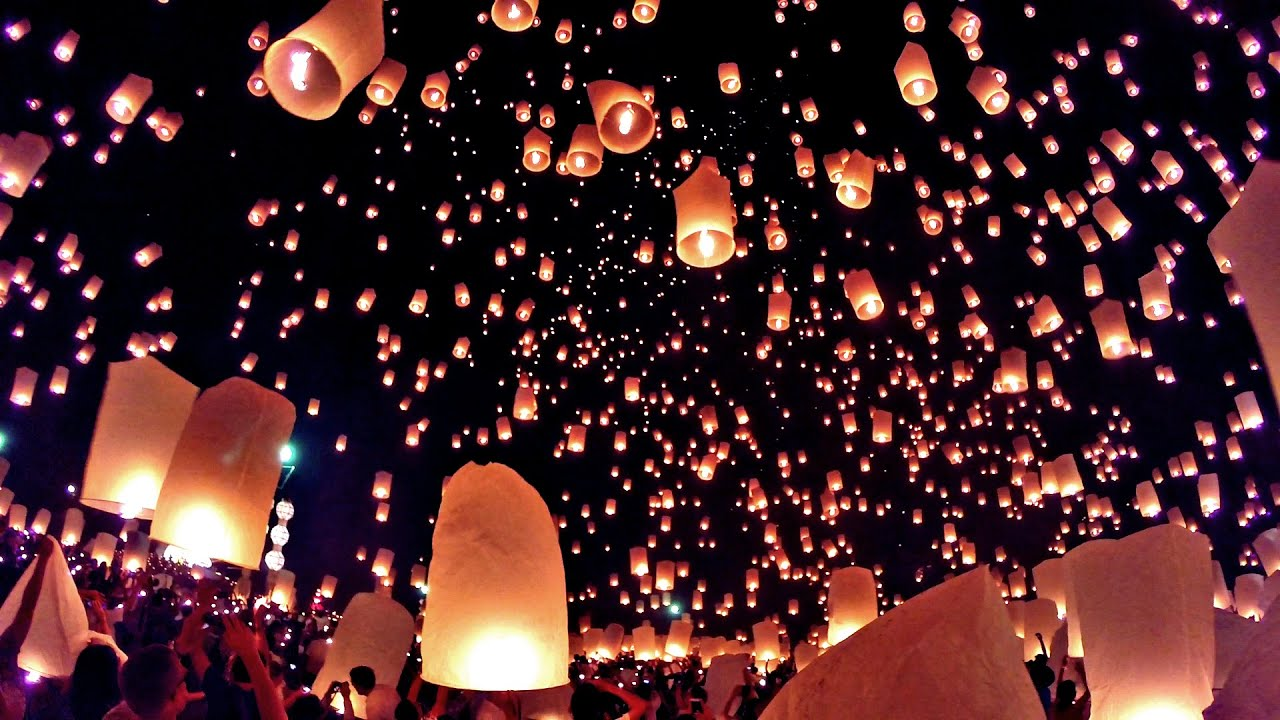 Loy Krathong Lantern Festival Chiang Mai Thailand Gopro Hero3  ... for Lantern Festival Hd  55jwn