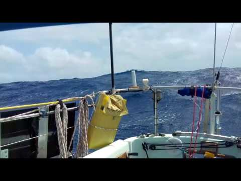 Atlantic crossing under bare poles with warps and sea feather steering
