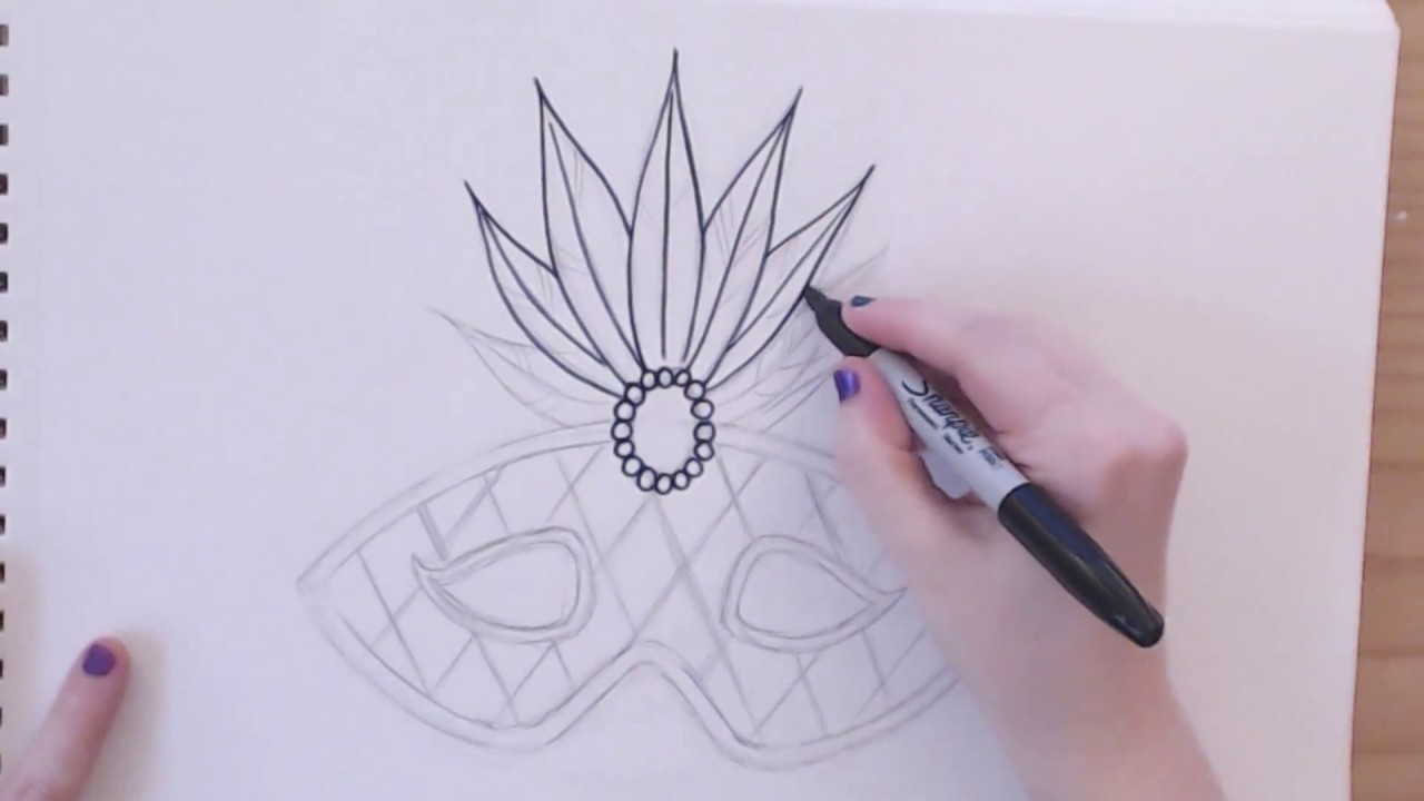 easy how to draw a mardi gras mask part 1 icanhazdraw youtube