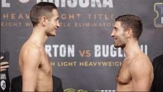WORDS EXCHANGED & SIMULATED PUNCHES! HOSEA BURTON v FRANK BUGLIONI - WEIGH IN & HEAD TO HEAD