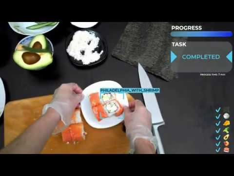 Making sushi rolls in Vuzix AR glasses with AI support