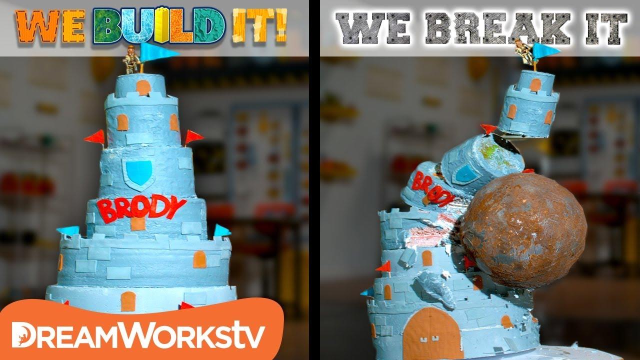 Giant Birthday Cake Vs Giant Boulder We Build It We Break It