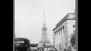 1950年頃の建設中の東京タワーの定点観測写真スライドショー.