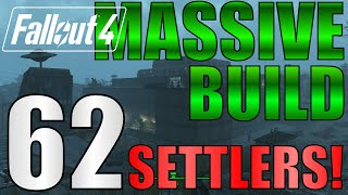 Fallout 4: 62 Settlers!! Biggest Settlement on PS4?!  NO Mods. Starlight Drive-In