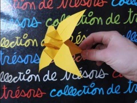 Origami La Fleur Diris En Papier Youtube