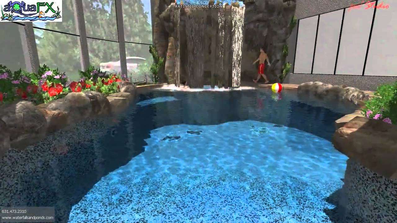3d animation indoor pool and waterfall rendering by for 3d pool design online free