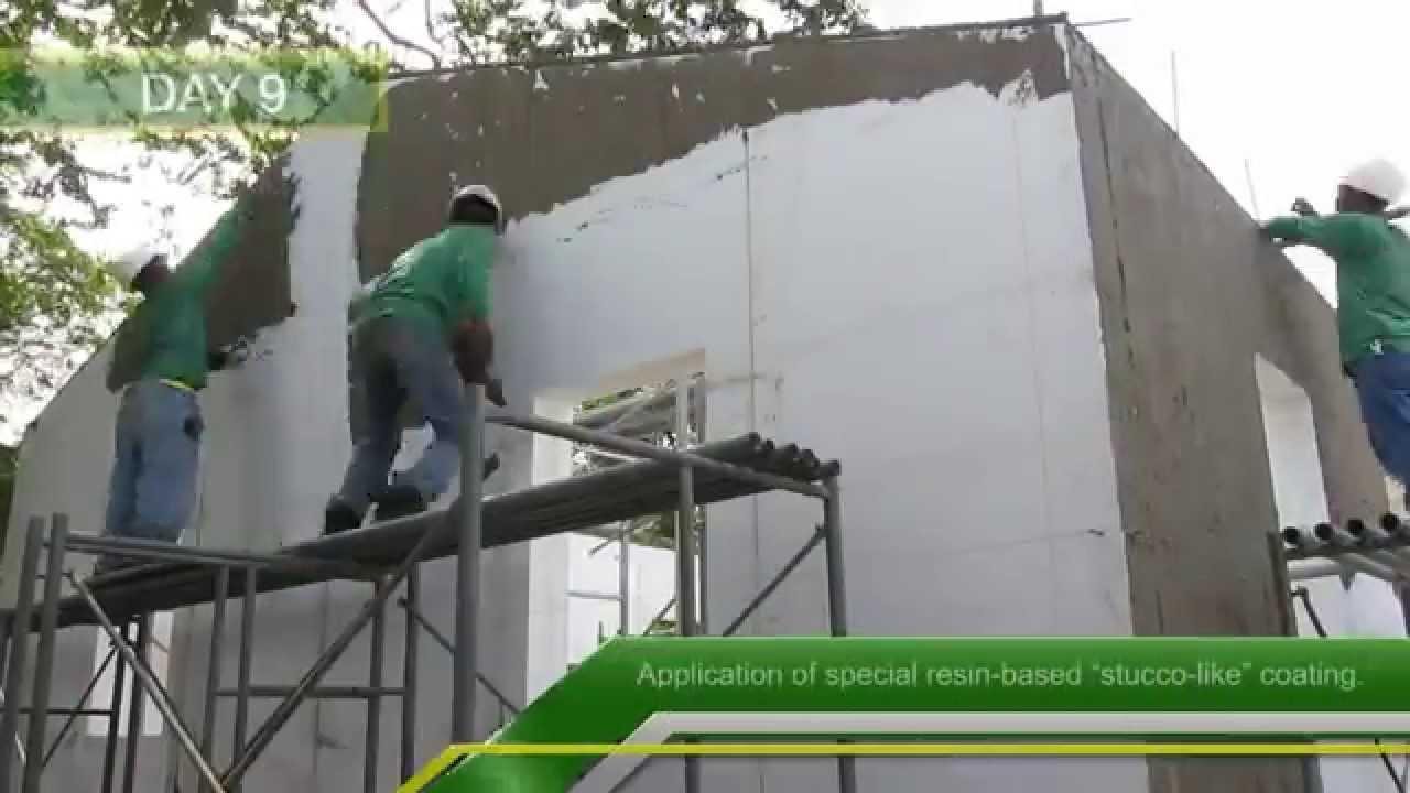 Peregrine expanded polystyrene model house youtube for Styrofoam house construction