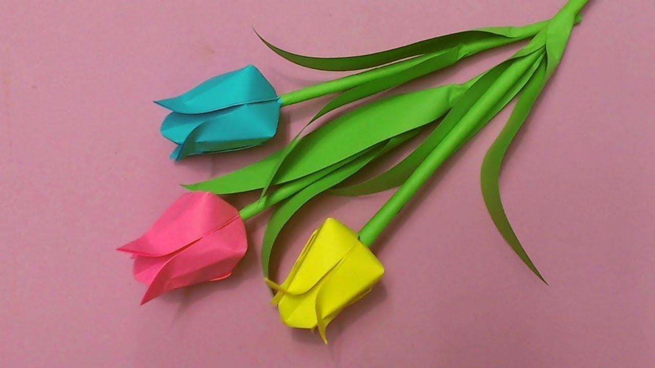 Hướng dẫn làm hoa tulip bằng giấy màu cực dễ | Cách làm hoa giấy