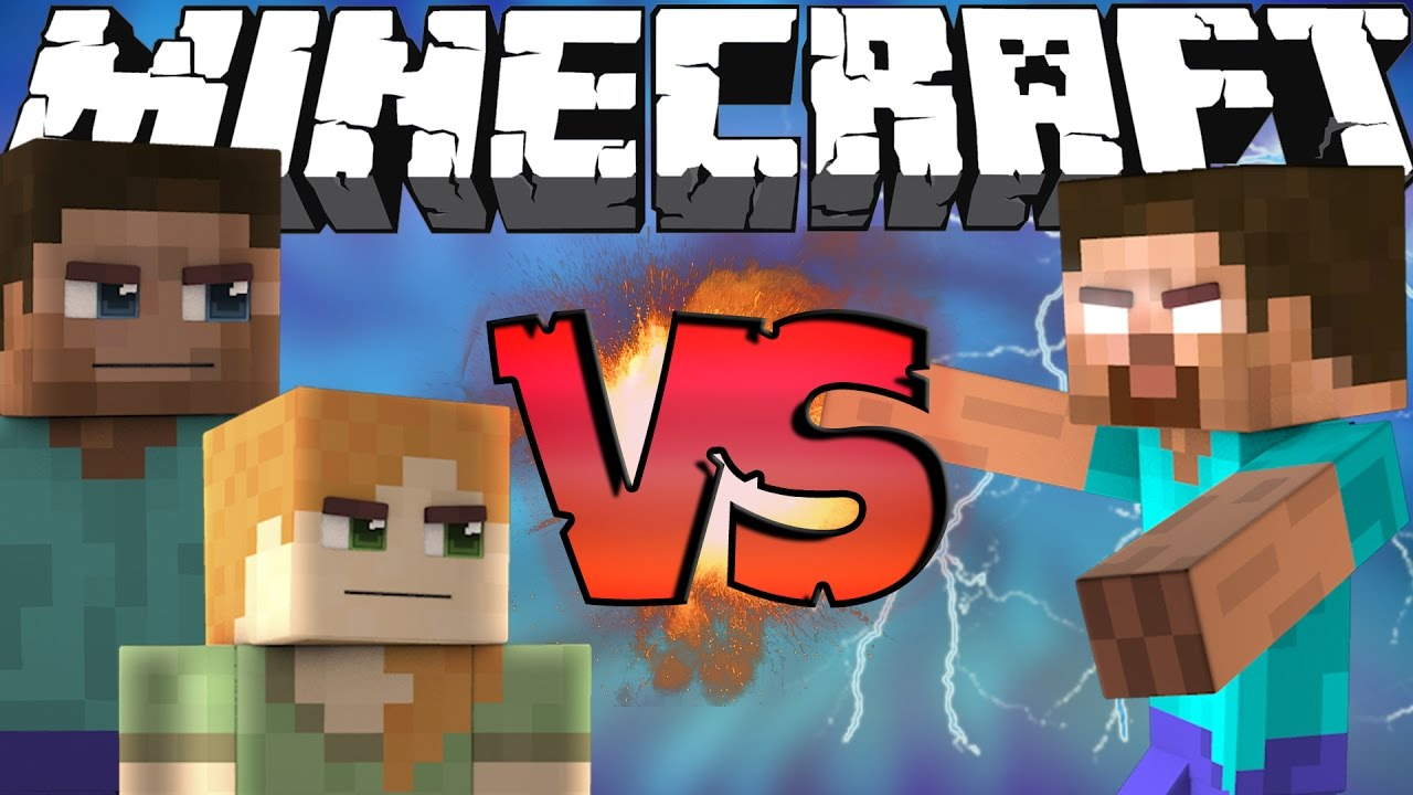 Minecraft Para Colorear Steve: Steve And Alex VS Herobrine