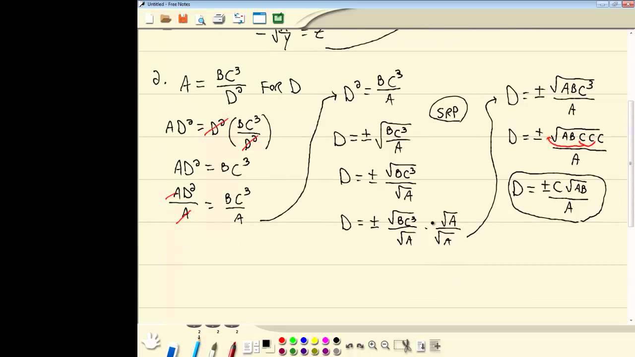 College Algebra - Formulas Involving Squares and Square Roots