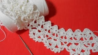 Repeat youtube video Crochet Orilla Tres Petalos o Media Flor
