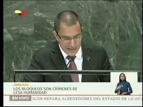 Canciller Jorge Arreaza exige fin del bloqueo a Cuba y a Venezuela en Asamblea General ONU