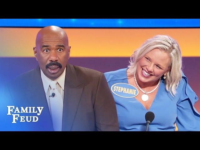 Stephanie gets flirty with sexy Steve Harvey! Thank god for social distancing! | Family Feud