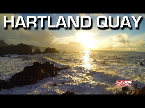 Hartland Quay North Devon Bideford England Winter High Tide Rainbow Cliffs Sundown Hotel