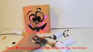 Disney ❤ Cars Mater Driving Backwards with Play Doh Mirrors Lightning McQueen Halloween Fun Game