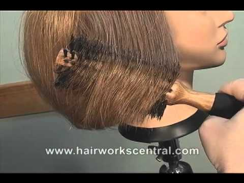 FREE HAIRDRESSING LESSON, How to blow dry hair pin straight using a brush.