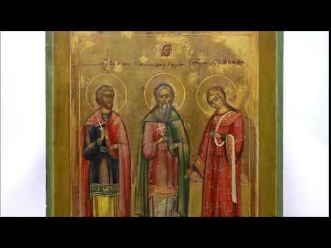 Купить икону для сохранения брака и семьи - Икона старинная Самон Гурий Авив. DR0292