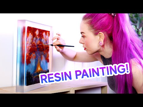 Painting my First Layered Resin Painting (it's 3D!)