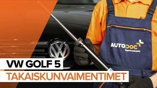 VW GOLF Takaiskunvaimennin ja etuiskunvaimennin asentaa : videokäsikirjat