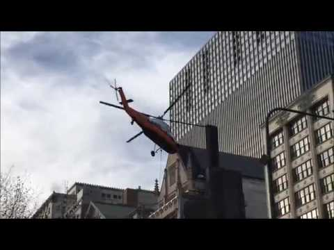 Sikorsky H 34 (S 58JT) Aerial Crane Helicopter Lift – Michigan Avenue – Chicago Illinois