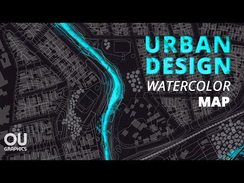 Watercolor Urban Design Map In Photoshop