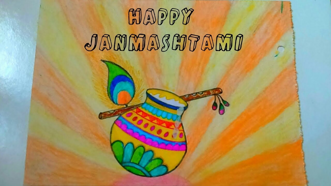 Happy Janmashtami Drawing For Kids How To Draw Janmashtami Card Janmashtami Poster Crad For Kids Youtube