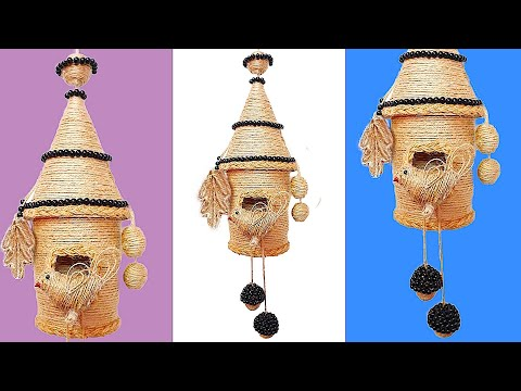 DIY Wall Hanging Bird Nest Showpiece made with jute rope & plastic bottle| DIY Jute craft idea