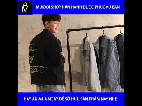 Áo Khoác Jeans Nam đen Chữ Vàng Vải đẹp Dày Bền A291 MuiDoi | áo Khoác Jeans | áo Khoác