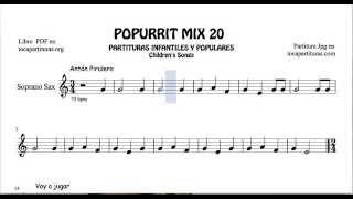 20 de 30 Popurrí Mix Partituras Populares Infantiles de Saxo Soprano Antón Pirulero
