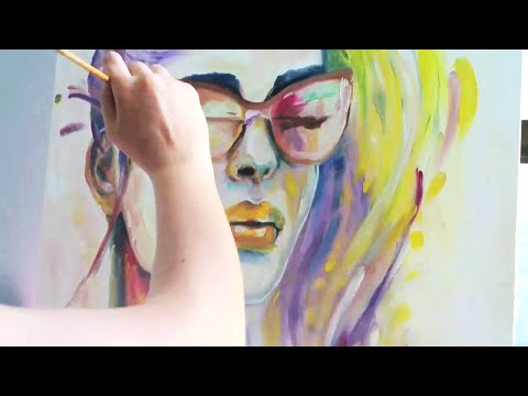 Time Lapse Oil Speed Painting: COLORFUL WOMAN FACE