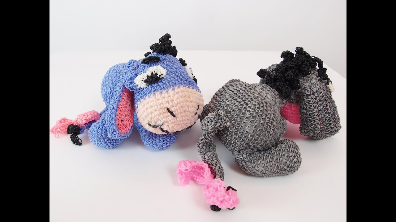 Amigurumi Loom Patterns : Eeyore rainbow loom bands amigurumi loomigurumi hook only tutorial