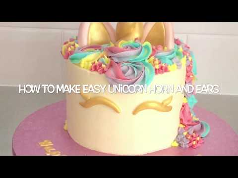 how to make unicorn ears and horn for cake