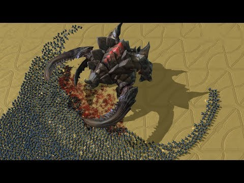 REAL Size ULTRALISK vs 3000 MARINES - Starcraft 2 MASSIVE Ba