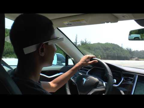 1st Google Glass Tesla Electric Car App in the world