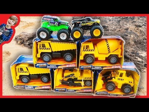 Construction Trucks Toy Unboxing - Monster Trucks and Digger
