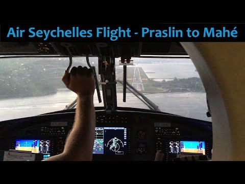 Full flight cockpit view - Air Seychelles - Praslin Mahé