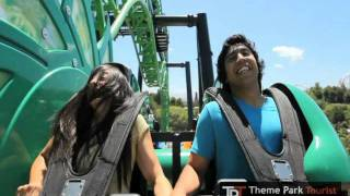 Green Lantern: First Flight rollercoaster at Six Flags Magic Mountain - on-ride (POV) and off-ride