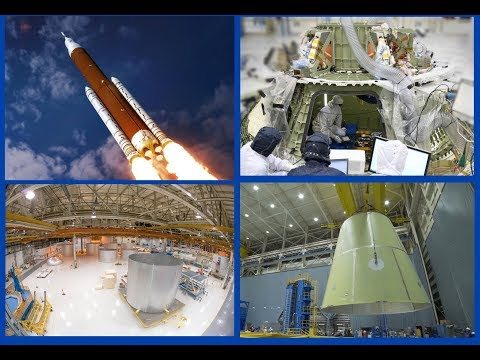 SLS manufacturing: Orion spacecraft - launch platform - core stage & boosters