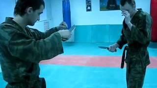 DrobyshevskyKarateSystem:Bunkai-4-HEIAN YONDAN-2-Juji Uke Knife Fighting