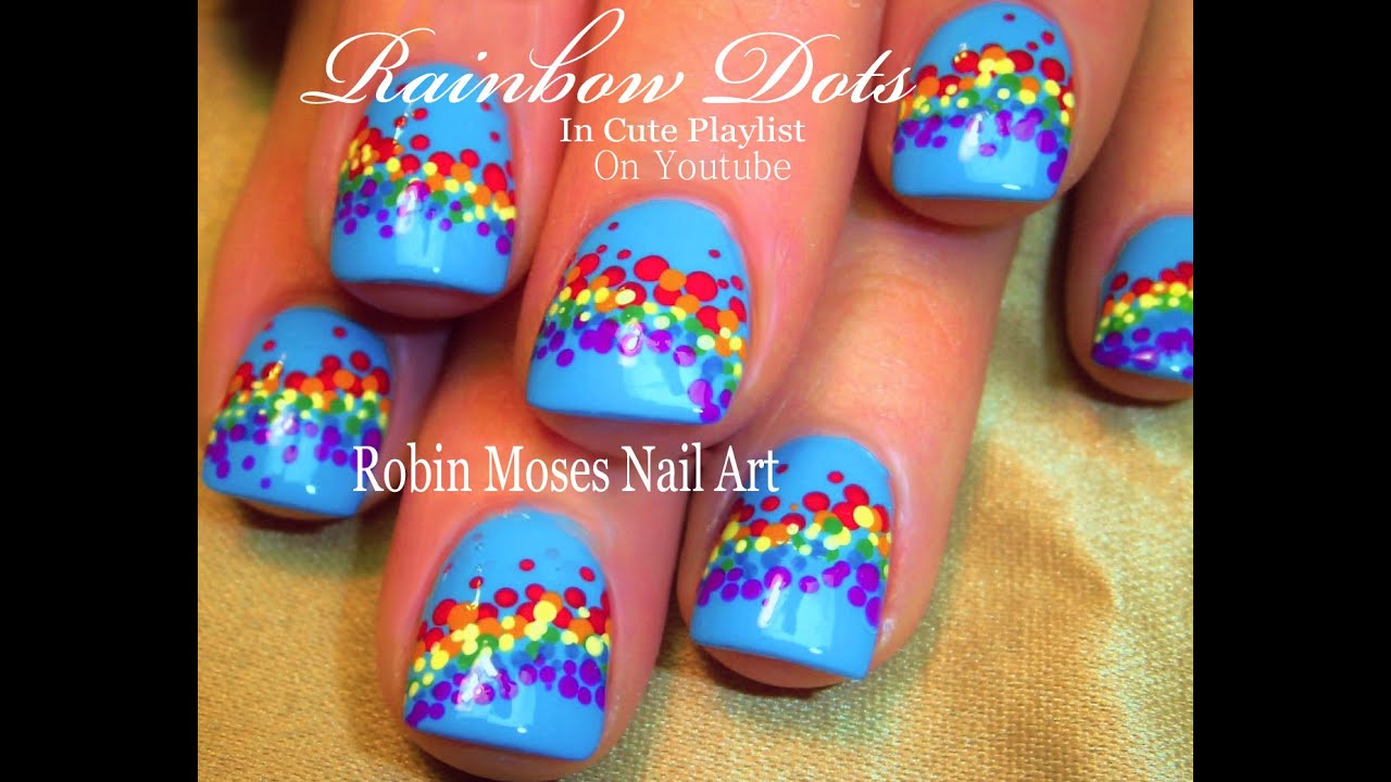 Easy Rainbow Nails Design Polka Dot Nail Art For Beginners You