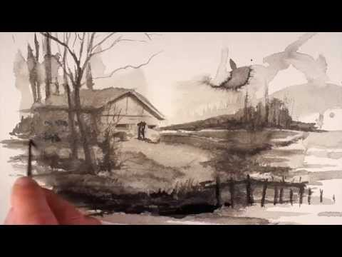 Creative Drawing Exercise with Ink Wash