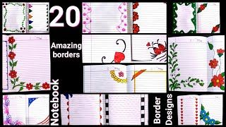 20 beautiful border designs for projects handmade| simple border designs| notebook border designs|