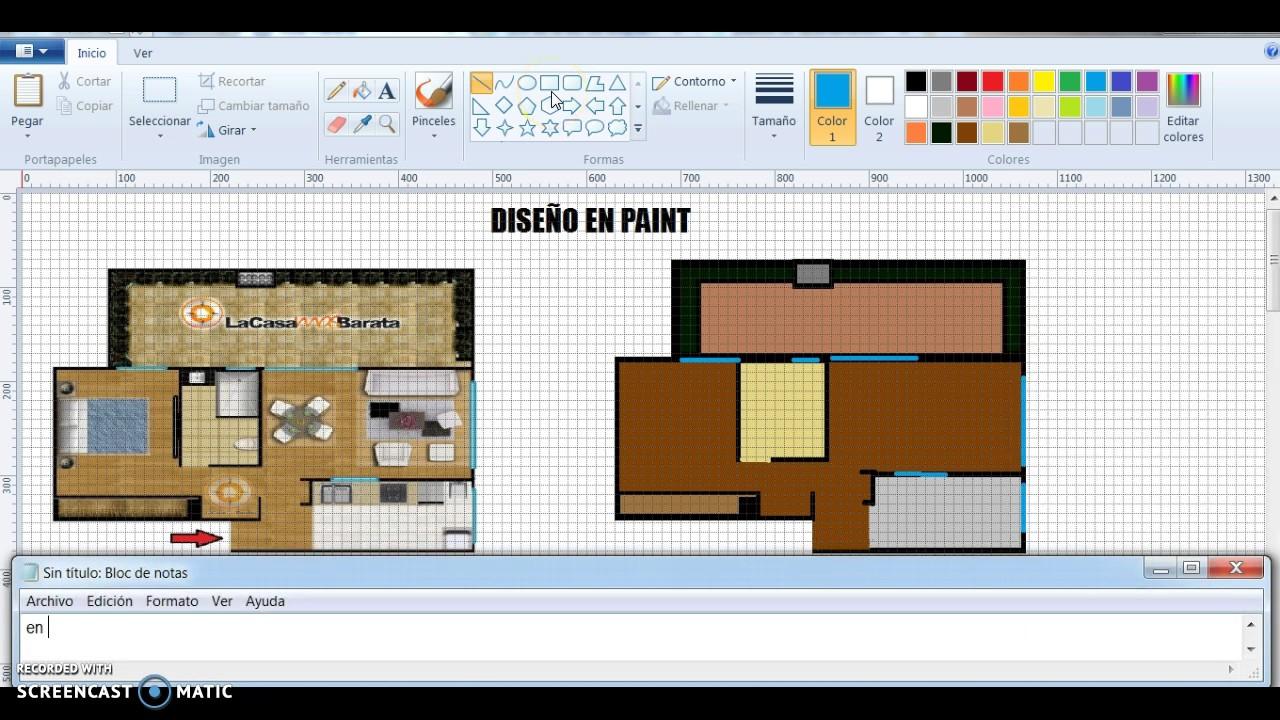 Dise o de planos en paint youtube for Como crear un plano de una casa